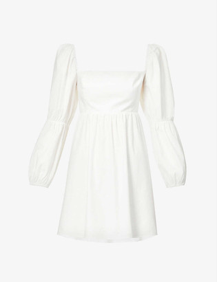 Reformation Michaela double-puff sleeved organic cotton-blend mini dress