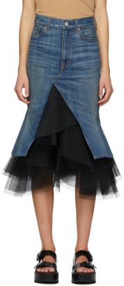 Junya Watanabe Blue Denim Tulle Skirt