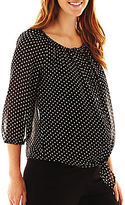 JCPenney Asstd National Brand Maternity Dot Chiffon Blouse