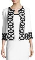 St. John Sara Lace-Trim 3/4-Sleeve Jacket, White/Black