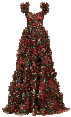 Dolce & Gabbana Ruffled Geranium-print Silk-organza Gown - Womens - Red Multi