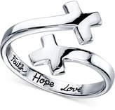 Unwritten Bypass Cross Ring in Sterling Silver