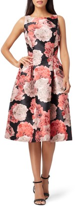 Tahari Mikado Floral Fit & Flare Dress