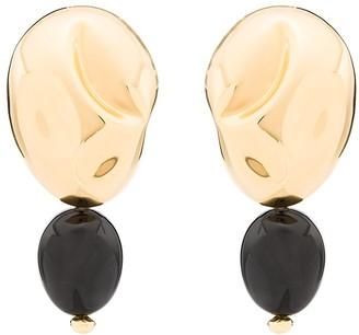 Monica Sordo 24kt gold plated onyx Oriente earrings