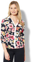 New York & Co. 7th Avenue - Contrast-Trim Blouse - Floral Print