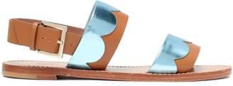 Red(V) Red(v) Metallic-paneled Leather Sandals