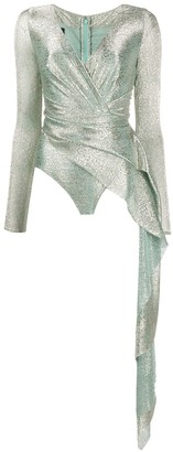 Talbot Runhof Draped Metallic Bodysuit