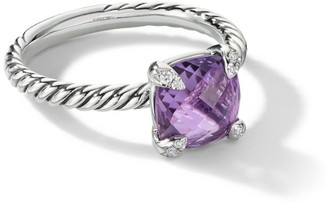 David Yurman Chatelaine Sterling Silver, Amethyst & Diamond Ring