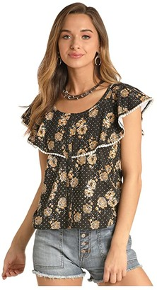 Rock and Roll Cowgirl Off-the-Shoulder Floral Print Top 47-4457 (Black) Women's Clothing