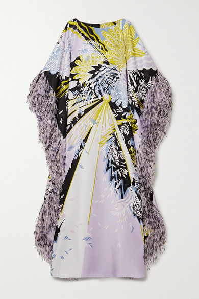 RALPH & RUSSO Sequin-embellished Feather-trimmed Printed Silk-satin Gown - Lilac