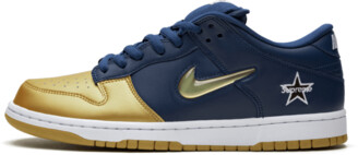 Nike SB Dunk Low 'Supreme - Jewel Swoosh Gold/Navy' Shoes - Size 4
