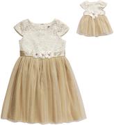 Dollie & Me Cream & Gold Brocade Dress & Doll Dress - Girls
