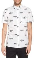 Barney Cools 'Fish' Trim Fit Print Woven Short Sleeve Shirt