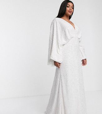 Asos Edition EDITION Curve sequin kimono sleeve wedding dress-White