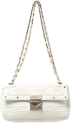 Gianni Versace Versace White Patent Leather Flap Shoulder Bag