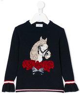 MonnaLisa horse motif flared cuff jumper