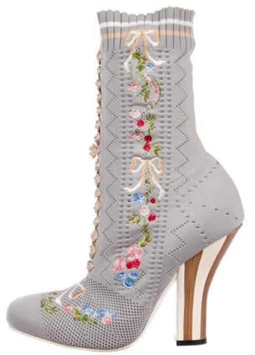 Fendi Knit Mid-Calf Boots grey Knit Mid-Calf Boots