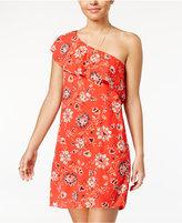 Sequin Hearts Juniors' Printed Ruffled One-Shoulder Dress