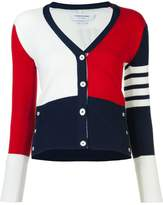 Thom Browne V-Neck Cardigan With 4-Bar Stripe In Funmix Cashmere