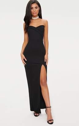 PrettyLittleThing Black Bandeau Folded Detail Extreme Split Maxi Dress