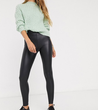 New Look Tall leather look legging in black