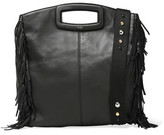 Maje Fringed Leather Shoulder Bag