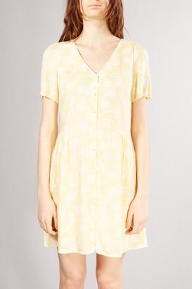 Des Petits Hauts Lemon Yellow Printed Rogeria Dress - XSMALL