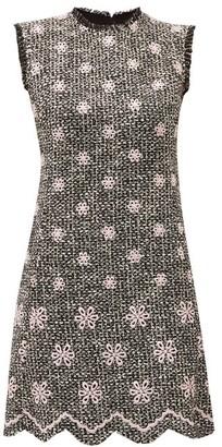 Giambattista Valli Embroidered-flower Boucle-tweed Shift Dress - Womens - Black Pink