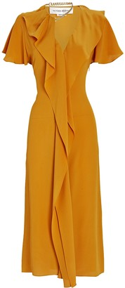 Victoria Beckham Ruffled Silk Midi Dress