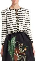 Oscar de la Renta Embellished Silk Jacket