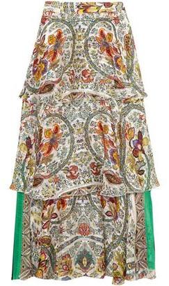 Etro Tiered Silk-jacquard Maxi Skirt