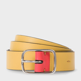 Paul Smith Men's Mustard Leather Belt With Contrast End