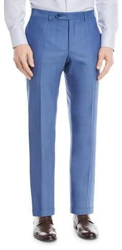 Canali Melange Wool Flat-Front Pants, Blue