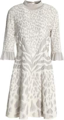 Roberto Cavalli Metallic Leopard-print Jacqaurd-knit Mini Dress