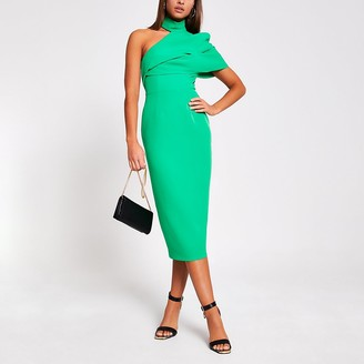 River Island Green one shoulder bodycon midi dress