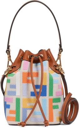 Fendi Mini Mon Tresor Logo Canvas Bucket Bag