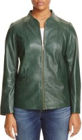 Marina Rinaldi Ebanista Funnel Neck Leather Jacket