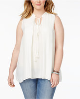 Melissa McCarthy Trendy Plus Size Tie-Front Swing Top