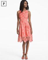 White House Black Market Petite Tonal Lace Fit-and-Flare Dress
