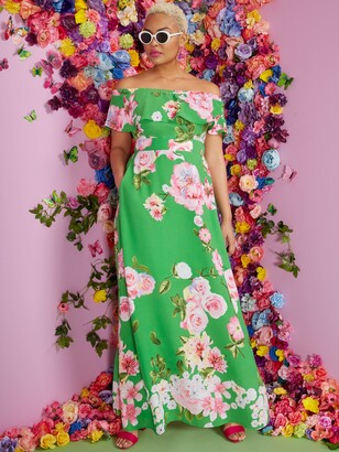 New York & Co. Floral Off-the-Shoulder Ruffle-Top Maxi Dress