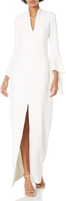 Halston Women's Flounce Sleeve Organic Neck Crepe Gown