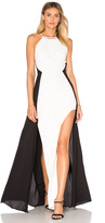 Halston Halter Colorblock Gown