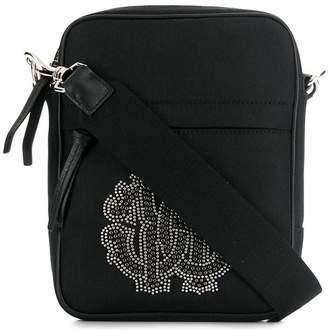 Roberto Cavalli studded logo messenger bag