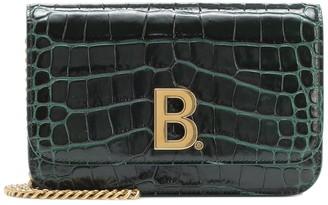 Balenciaga B croc-effect leather shoulder bag