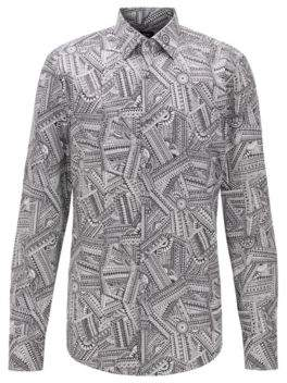 Slim-fit shirt in satin with collection print