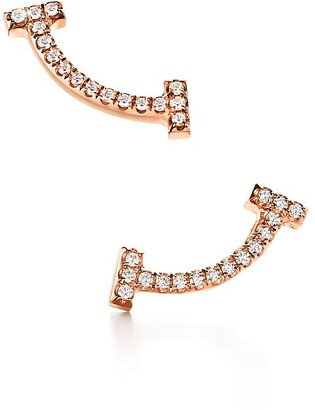 Tiffany & Co. T smile earrings in 18k rose gold with diamonds