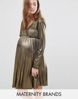 Bluebelle Maternity Metallic Long Sleeve Wrap Dress