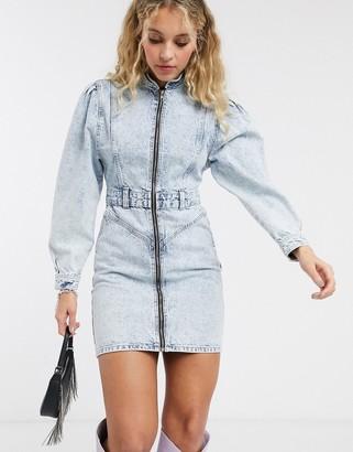 Topshop acid wash puff sleeve mini dress in blue