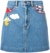 Marc Jacobs raw edge denim mini skirt - women - Cotton - 24