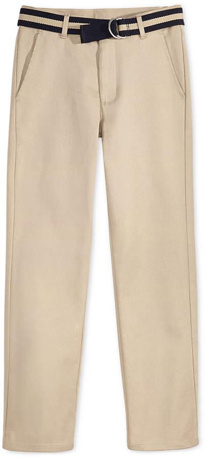 Nautica (ノーティカ) - Nautica Flat-Front Belted Twill School Uniform Pants, Big Boys